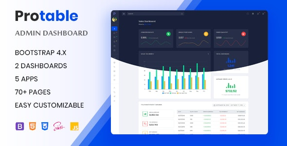 Protable - Responsive Admin Dashboard Template - Admin Templates Site Templates