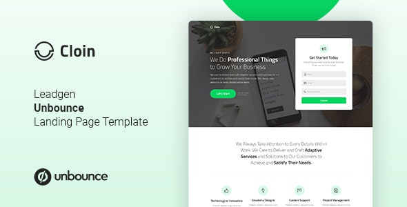 Cloin - Business Unbounce Landing Page Template - Unbounce Landing Pages Marketing