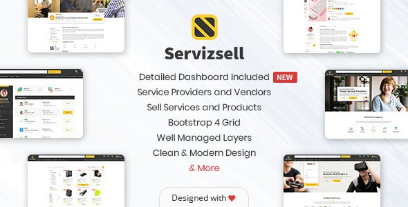 Servizsell - Service Finder and Vendors Directory Template - Corporate PSD Templates