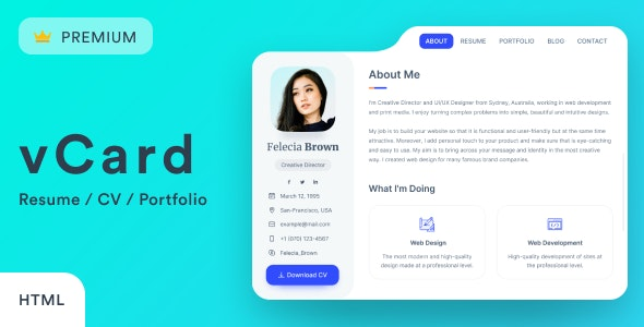 vCard2 – Resume / CV / vCard / Portfolio - Resume / CV Specialty Pages