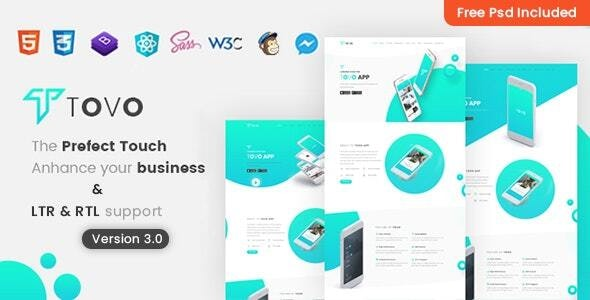 Tovo - React App Landing Page - Software Technology