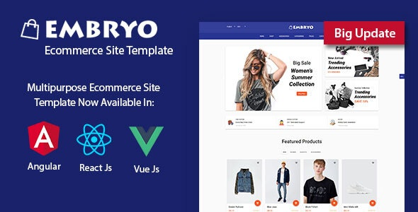 Embryo - Angular 8, React JS and Vuejs Material Design eCommerce Template - Shopping Retail