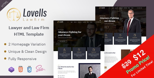 Lovells - Lawyer & Law Firm HTML Template - Business Corporate
