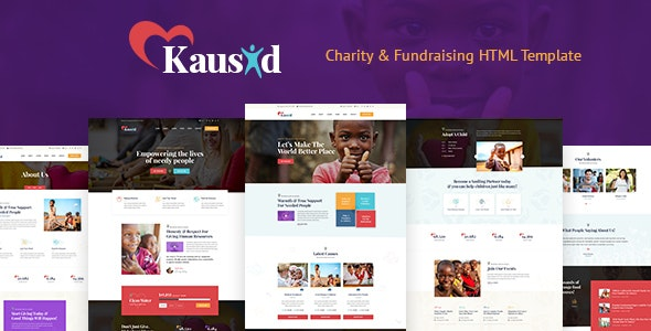 Kausid - Responsive HTML Template for Charity & Fund Raising - Charity Nonprofit