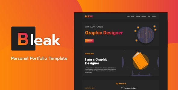 Bleak - Personal Portfolio Template - Portfolio Creative