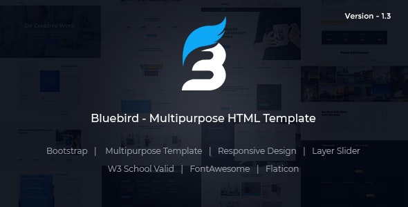 Bluebird - Multipurpose Responsive HTML Template - Corporate Site Templates