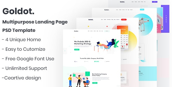 Goldot.- Multipurpose Landing Page PSD Template - Business Corporate