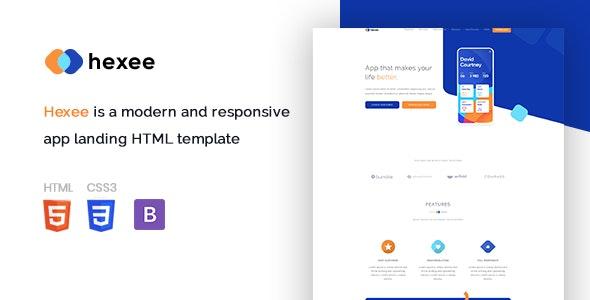 Hexee - Responsive Modern App Landing HTML Template - Technology Site Templates