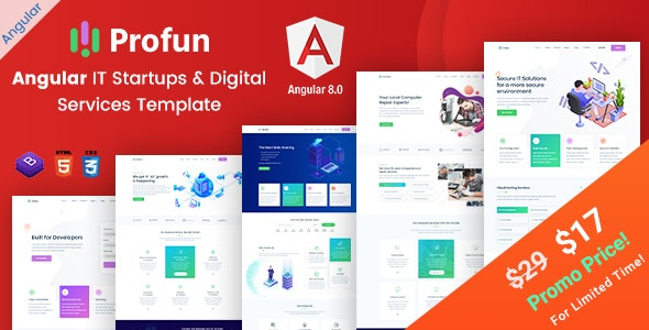 Profun - Angular IT Startups & Digital Services Template - Technology Site Templates
