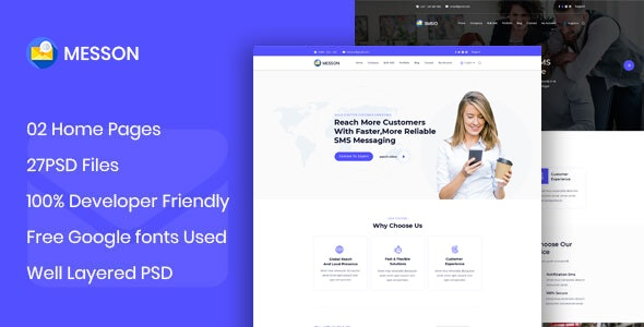 Messon - BulkSMS Reseller Business PSD Template - Business Corporate