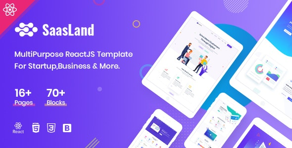 Saasland - MultiPurpose React Template For Startup Business - Site Templates