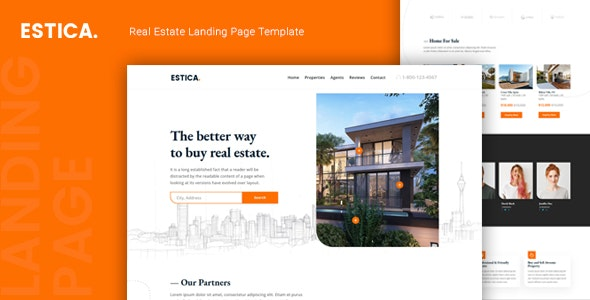 Estica — Real Estate Landing Page Template - Business Corporate