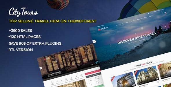 CityTours - Travel and Hotels Site Template