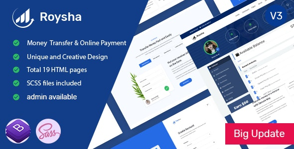 Roysha - Money Transfer and Online Payments HTML Template by themeies