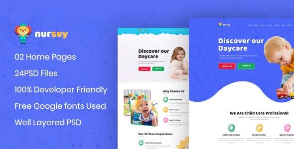 Nursey - Day Care & Kindergarten PSD Template - Children Retail