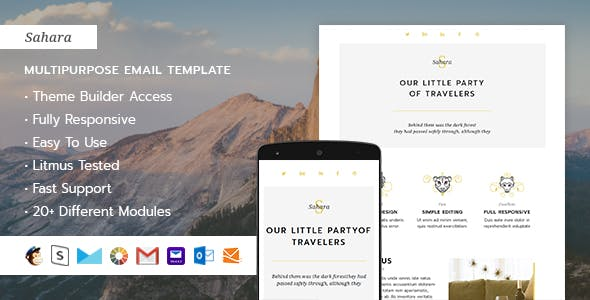 Sahara  – Responsive HTML Email + StampReady, MailChimp & CampaignMonitor compatible files