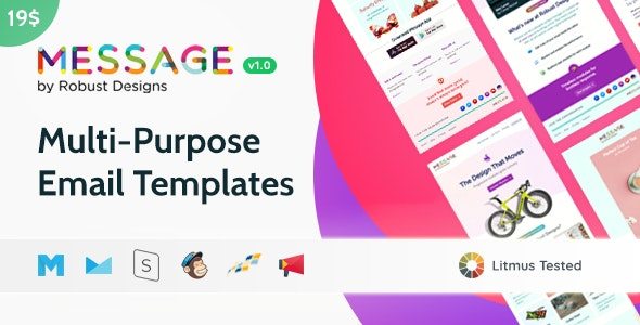 Message - Responsive Multi-Purpose Email Templates + Robust Editor - Email Templates Marketing