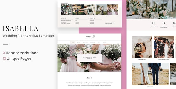 Isabella - Wedding Planner HTML Template - Wedding Site Templates