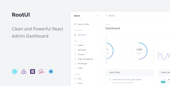 RootUI - React Admin Dashboard with Redux and Bootstrap 4