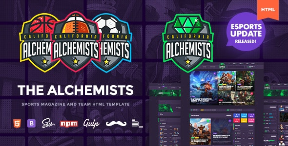 Alchemists - Sports, eSports & Gaming Club and News HTML Template Version 4.1.4