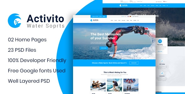 Activito - Water Sports Business PSD Template - Business Corporate