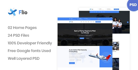 Flio - Flying Academy PSD Template - Business Corporate