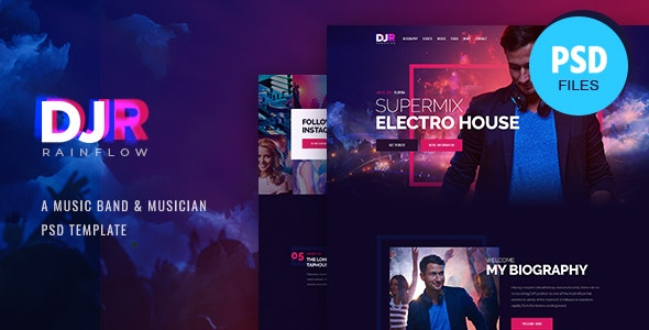 DJ Rainflow | Music Band & Musician PSD Template - Nightlife Entertainment