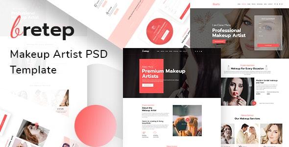 Bretep - Makeup Artist PSD Template - Creative PSD Templates