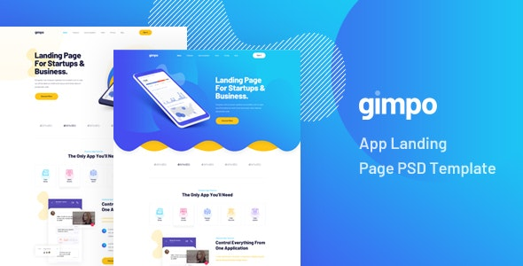 Gimpo - App Landing Page PSD Template - Technology PSD Templates