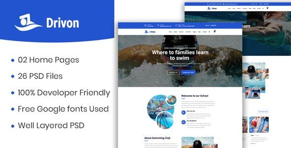 Drivon - Swimming School PSD Template - Health & Beauty Retail