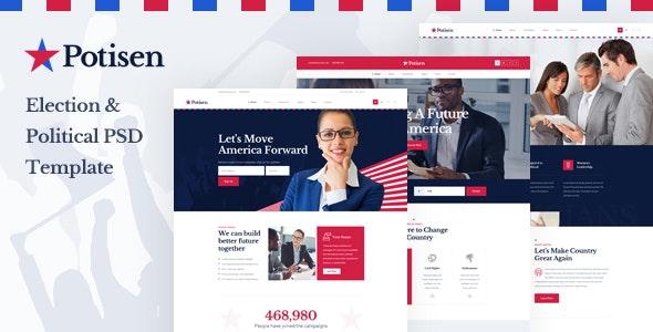 Potisen - Election & Political PSD Template - Political Nonprofit