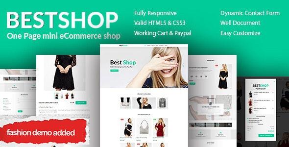 Bestshop - One Page Mini eCommerce Shop Templates - Retail Site Templates