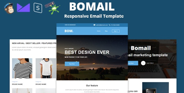 BOMAIL - Best Responsive Email Template + Online Stampready Builder - Newsletters Email Templates