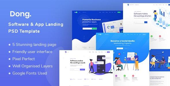 Dong - Software and App Landing PSD Template - Software Technology