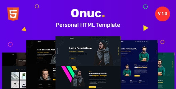 Onuc - Personal HTML Template - Personal Site Templates