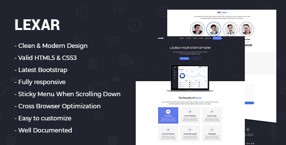 lexar - Software HTML5 Landing Page - Technology Site Templates