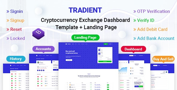 Tradient - Cryptocurrency Exchange Dashboard Template + Landing Page - Admin Templates Site Templates