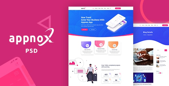Appnox - Product Landing PSD Template - Business Corporate