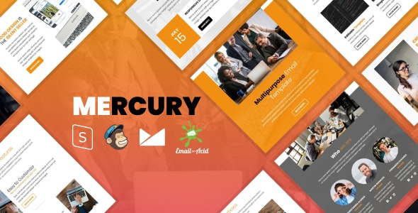 Mercury - Responsive Email Template with Mailchimp Editor, StampReady Builder & Online Composer - Newsletters Email Templates