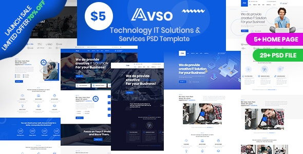 Abso - Technology IT Solutions & Services PSD Template - Business Corporate