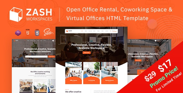 Zash - Office Rental & Coworking Space HTML Template - Corporate Site Templates