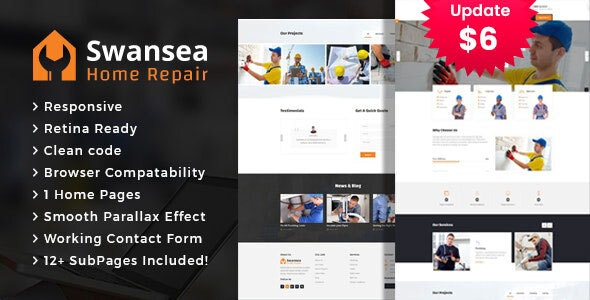 Swansea - Plumbing and Construction HTML Template - Corporate Site Templates