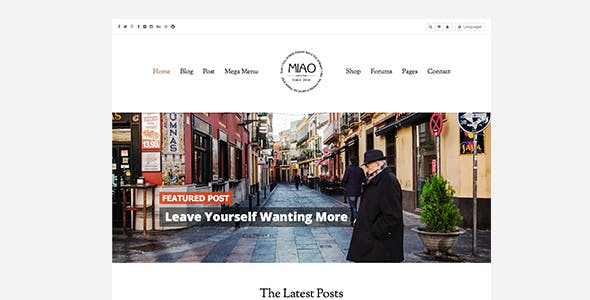 Miao - Fashion Magazine, News & Blog WordPress Theme