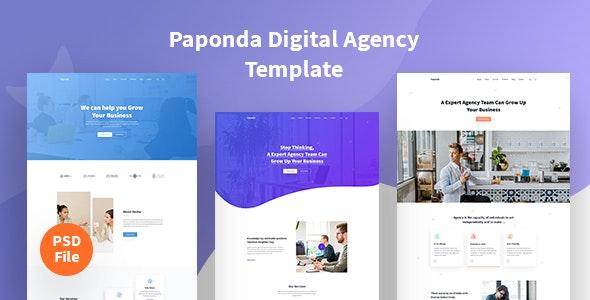 Paponda Digital Agency Page - Corporate PSD Templates