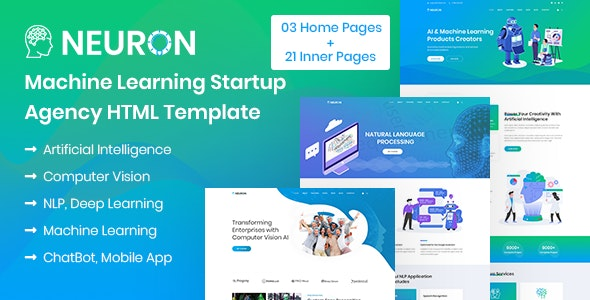 Neuron - Machine Learning & AI Startups HTML Template - Software Technology