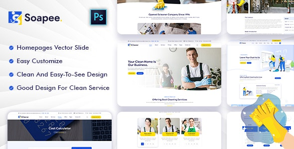 Soapee - Cleaning Services PSD Template - Business Corporate