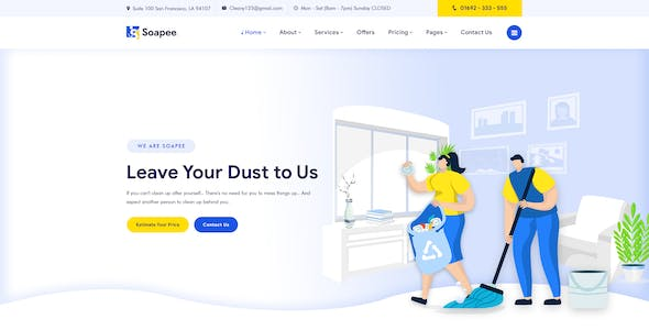 Soapee - Cleaning Services PSD Template