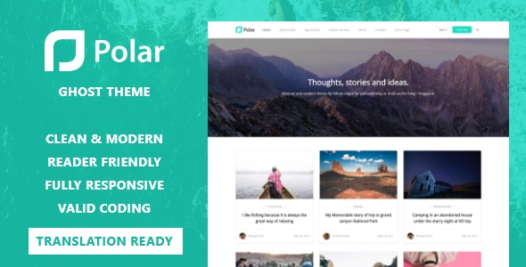Polar - Minimal Blog and Magazine Ghost Theme - Ghost Themes Blogging