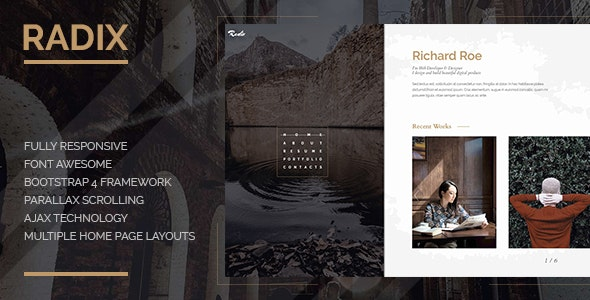 Radix -  Portfolio and Resume Template - Personal Site Templates