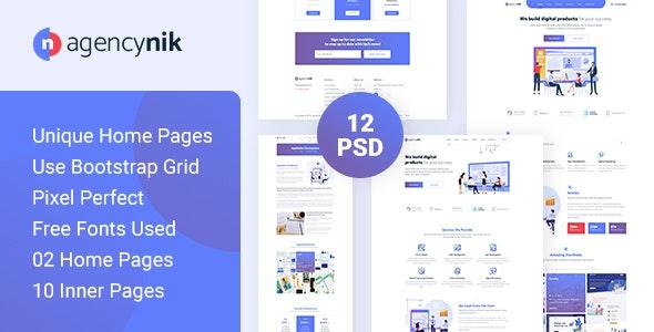 Agencynik - Creative Startup Agency PSD Template - Creative PSD Templates